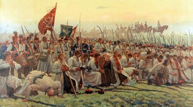 Kosynierzy na obrazie Józefa Chełmońskiego / Źródło: Wikimedia Commons.